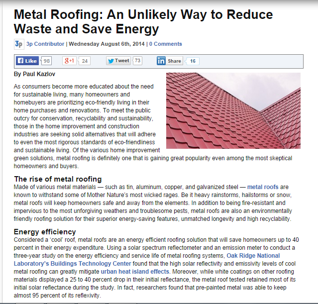 Metal Roofing-An Unlikely Way To Reduce Waste and Save Energy