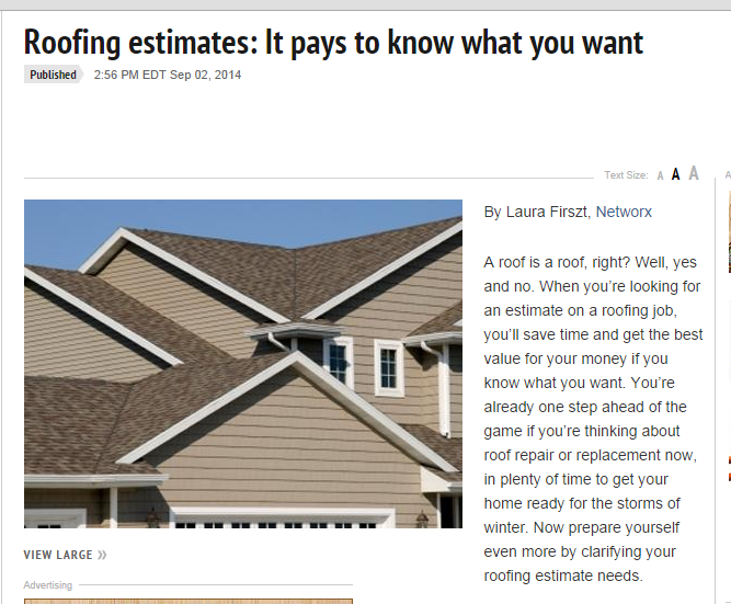 Roofing estimates- It pays to know what you want
