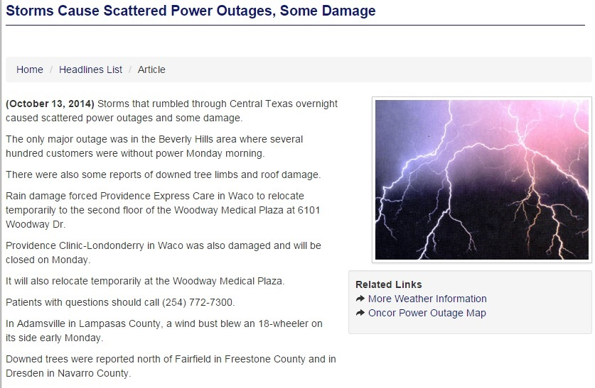 Storms Cause Scattered Power Outages